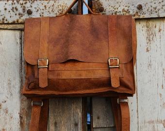 Brown Leather Laptop Messenger Backpack, Valentines Gift Idea, Rustic Men Work Travel Bag, Laptop Purse, Laptop Briefcase, Leather Rucksack