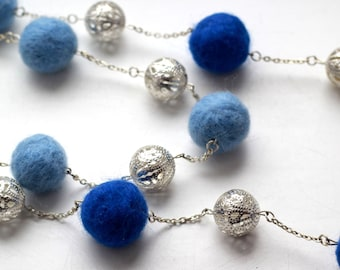 Necklace with felt businami/Natural necklace/Blue necklace/Felt necklace/Eco-friendly/Jewelry