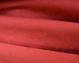 2 metres red cotton fabric, soft and pliable, yarn dyed jacquard woven - cushions, curtains, soft furnishings