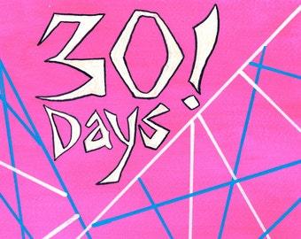30 Days! Funny Sobriety Card