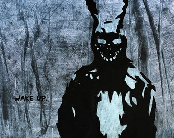 "MR.BABES ""Donnie Darko: Frank The Bunny"" Original Pop Art Painting One Of A Kind Acrylic On Canvas Signed 30"" x 30"""
