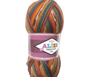 "Sock yarn sale, Superwash Sock Yarn ""Alize"", Boho yarn, Destash yarn, Fancy yarn, Wool Yarn Destash, Variegated Sock Yarn"