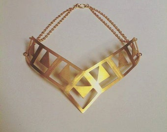 """Gold choker, geometric choker, statement choker, gold necklace, geometric necklace, gold statement necklace, """"Romb"""" choker"""