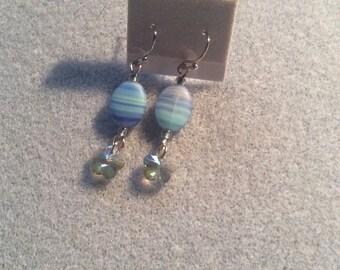 Beautiful blue bead earrings with Swarovski charm