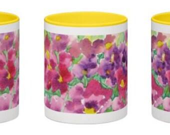 Ceramic Mug, Wrap Around Floral Watercolor Design, 11 ounce, Office Mug