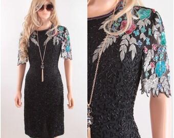 Stunningly Gorgeous Intricately Beaded Vintage Formal Dress, Evening Wear, Black Dress, Beaded Dress, Floral, 1980s Prom Dress, Scala 170223