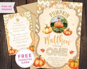 Pumpkin first birthday, first birthday invitation, Halloween birthday, fall birthday invitation, halloween birthday invite,pumpkin,1st,first