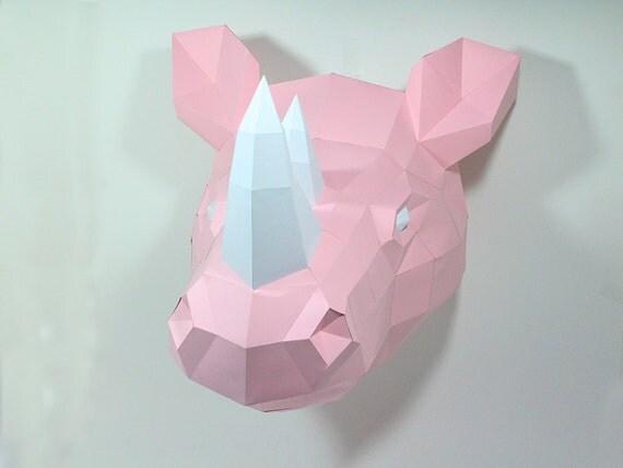 nashorn rhino aus papier zum basteln papercraft diy 3d. Black Bedroom Furniture Sets. Home Design Ideas