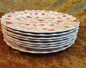 "Set of 8 ROSEBUD CHINTZ 8"" salad plates discontinued pink rose bud yellow flowers scalloped England Copeland Spode china vintage dishes"