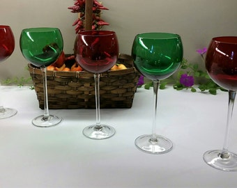 CHRISTMAS WINE GOBLETS Vintage Set of 5 Large Bubble Shaped Red and Green Circa 1980's Barware