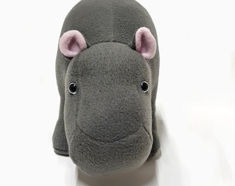 HIPPO Plush Room Accessories Grey,  Soft HIPPOPOTAMUS Safari Animal Interior Decoration