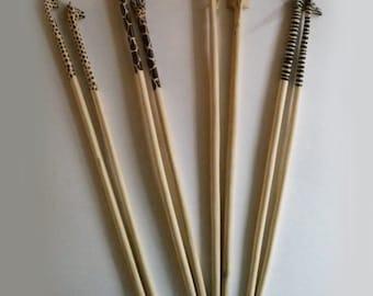 Handcarved Handpainted Wood Animal Chopsticks
