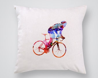 Bicyclist Pillow Cover - Home Decor - Decorative Throw Pillow - Colorful Accent Pillow