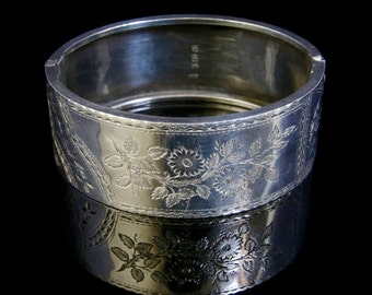 Antique Silver Bangle - Forget Me Nots And Ivy - Dated 1893