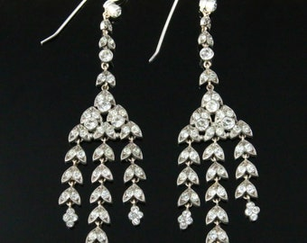 Antique Victorian Long Silver Paste Earrings - Circa 1860