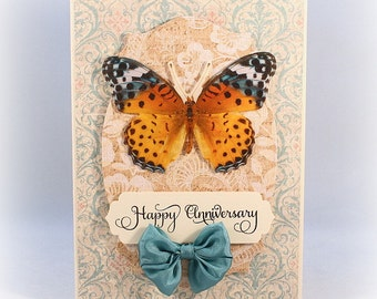 Anniversary Card, Butterfly, Elegant, Luxury Card, Handmade Card, Happy Anniversary, For Wife, Girlfriend, Partner, Cottage Chic Card