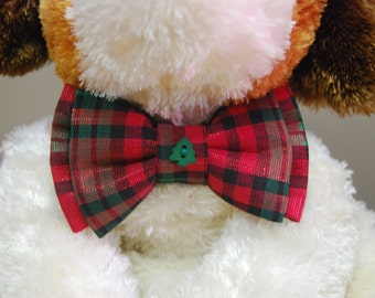 Red & Green Plaid Shimmer Pet Bowtie