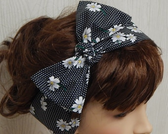 Retro cotton headband, self tie hair band, hair scarf polka dot and daisy flowers, black and white floral 50's head scarf