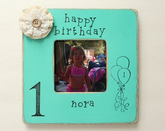 Birthday Picture Frame, First Birthday Photo Frame, Rustic Picture Frame