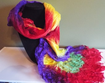 Silk/Merino wool wet felted scarf - Rainbow color