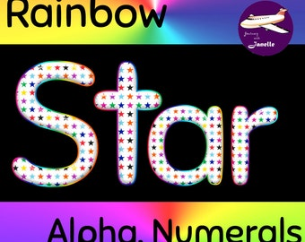 Rainbow Star Alphabet Clip Art + Numerals, Punctuation and Math Symbols