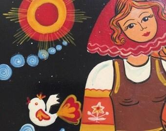 Russian Folk Art Woman Birds Laquer