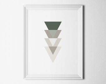 Gray wall art prints Digital download Living room art Wall decoration Geometric print Triangle wall decor Modern art Home decor printables