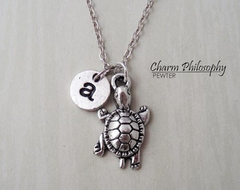 Walking Turtle Necklace - Personalized Monogram Initial Necklace - Reptile Jewelry