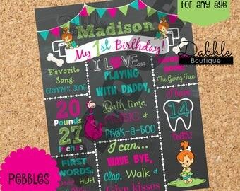 Pebbles Birthday Chalkboard / Pebbles Flinestone statboard /  Pebbles board