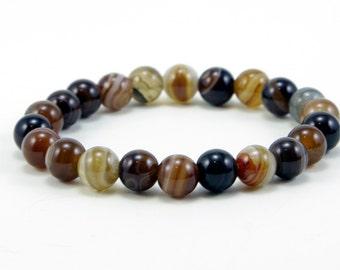 Brown Line Agate Bracelet with 9mm Gemstones, Gemstone Bracelet