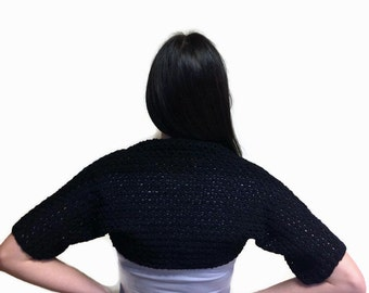Hand knitted bolero. Shrugs&bolero. Exclusive shrug. Black bolero.Women bolero.