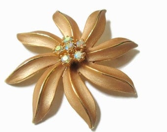 Flower  Brooch, AB Crystal Floral Pin,  Mid Century Jewelry, 1950s-1960s, Gold Tone