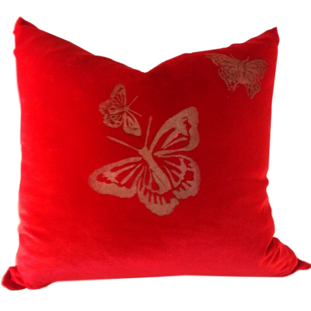 Red Velvet Decorative Pillows : Red Velvet Pillow Cover with Gold and Butterfly for Throw