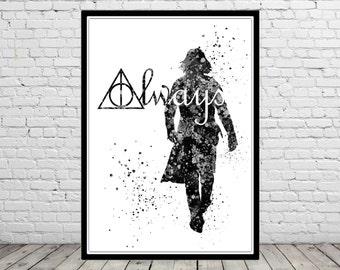 Severus Snape inspired, Harry Potter, Watercolor print, Kids Room Decor, Poster,print(1008b)