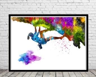 Rock climbing extreme sport women, watercolor rock climbing, watercolor print,  Kids Room Decor, Poster, print (1077b)