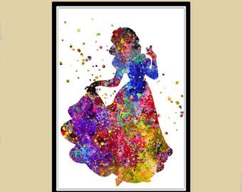 Snow white inspired, Princess, Snow white,Snow white Princess, watercolor painting, Kids Room Decor, Poster, wall art, print(400b)