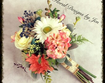 Wedding Bouquet, Silk Bouquet, Rustic Bouquet, Bridal Bouquet, Daisy Bouquet, Wildflower Bouquet, Bridesmaid Bouquet