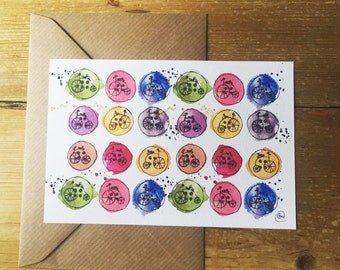Button Penny Farthing watercolour illustraion Postcard