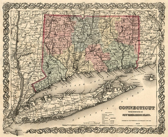 Map of Connecticut with portions of New York Long Island