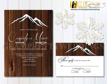 Mountain Winter Wedding Invite & RSVP Rustic Alpine Ski Top Resort Brown Barn Wood - PRINTABLE File - Style Name: CASSIDY