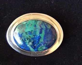 Azurite and Sterling Silver Brooch