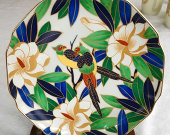 Vintage Takahashi Tropicale Pair Parrot Plate