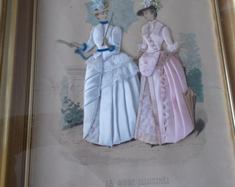 Vintage  French Framed Prints ,Pair of French  Prints with Applique, La Mode Illustree 1887/1888,
