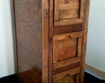 1920's Salvaged Pine 3 Drawer Crate Cabinet with Hidden Compartment