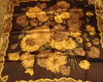 1960's Vintage St Michael Gold, Brown and Green Floral & Leaf Patterned Rayon Satin Scarf