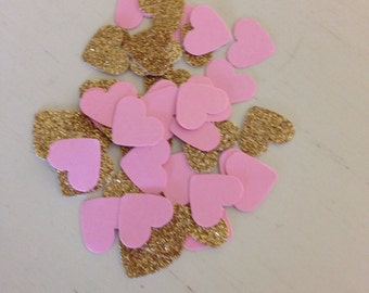 Pink and glitter gold heart confetti-table scatter- birthdays, weddings, showers