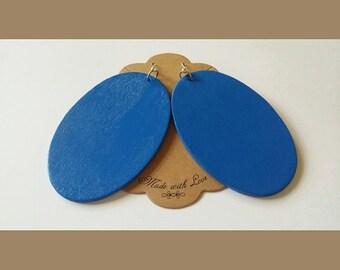 Large Wooden Oval Earrings