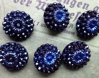 6 old collector / glass buttons - black blue iridescent patterns - Artdeko - 2 sizes available