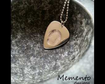 Guitar Pick Fingerprint Pendant