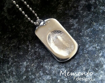 Silver Dogtag Pendant Necklace Fingerprint Jewellery Keepsake Personalised Jewelry Custom